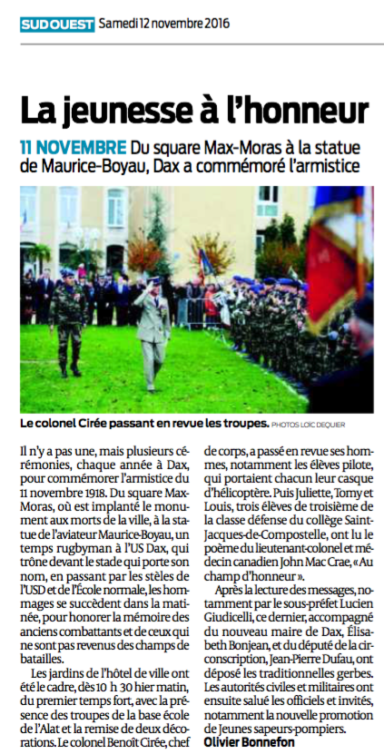 article-sud-ouest-ceremonie-11-novembre